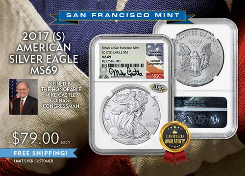 2017 (S) Silver Eagle MS69 Mike Castle