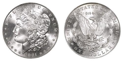 1881-S Morgan Silver Dollar; San Francisco Mint