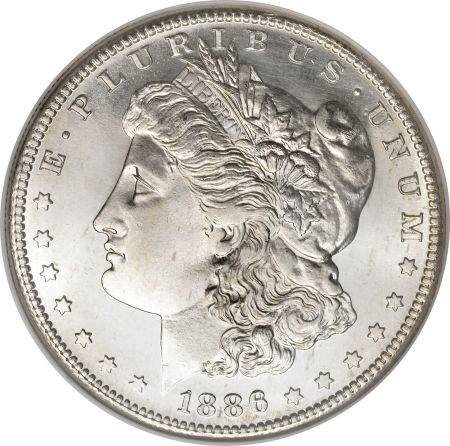 1886 Morgan Silver Dollar Extremely Fine To Almost
