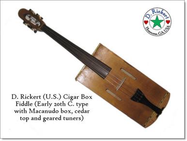 """Custom """"modern"""" type cigar box fiddle by D. Rickert Musical Instruments"""