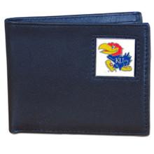 Kansas Jayhawks Black Bifold Wallet NCCA College Sports CBI21