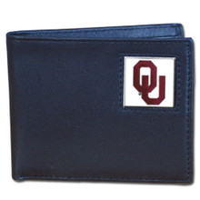 Oklahoma Sooners Black Bifold Wallet NCCA College Sports CBI48