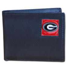 Georgia Bulldogs Black Bifold Wallet NCCA College Sports CBI5