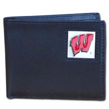 Wisconsin Badgers Black Bifold Wallet NCCA College Sports CBI51