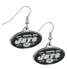 New York Jets Chrome Dangle Earrings FDE100N
