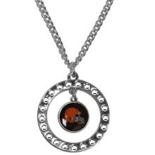 Cleveland Browns Rhinestone Hoop Necklace NFL Football FRN025