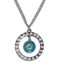 Miami Dolphins Rhinestone Hoop Necklace NFL Football FRN060