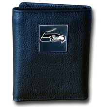 Seattle Seahawks Black Trifold Wallet NFL Football FTR155