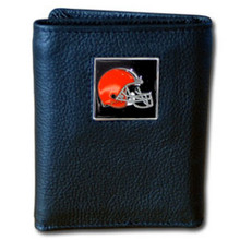 Cleveland Browns Leather Trifold Wallet with Nylon Liner NFL Football FTRN025