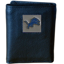 Detroit Lions Leather Trifold Wallet with Nylon Liner NFL Football FTRN105