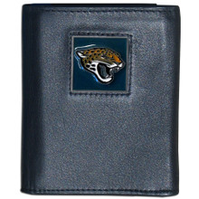 Jacksonville Jaguars Leather Trifold Wallet with Nylon Liner NFL Football FTRN175