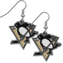 Pittsburgh Penguins Chrome Dangle Earrings NHL Hockey HDE100N