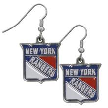 New York Rangers Chrome Dangle Earrings NHL Hockey HDE105N