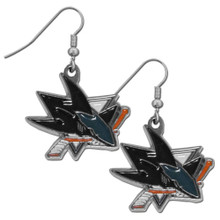 San Jose Sharks Chrome Dangle Earrings NHL Hockey HDE115N