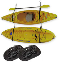 Riverside Kayak Hanger in use and in storage mode