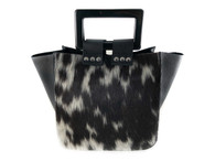 Square Up Bucket Bag - Black Spotted Calf Hair & Leather