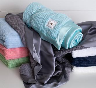 MomLife -  Adult Security Blanket -Sh-Sh Soft Woven Chenille  & Satin