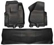 Black Husky Liner Weatherbeater Front & Rear Floor Liner Set | 2012-2014 Ford Super Duty
