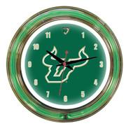 "South Florida Bulls Neon Wall Clock - 14"""
