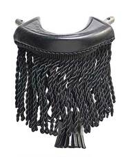 Black Leather Pool Table Pockets with Fringe - Set of 6