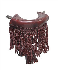 Burgundy Leather Pool Table Pockets with Fringe - Set of 6