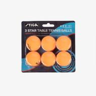 Stiga® Three Star Table Tennis Balls  - Package of 6 - T143