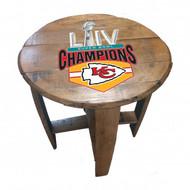Kansas City Superbowl 54 Champions Oak Barrel Table
