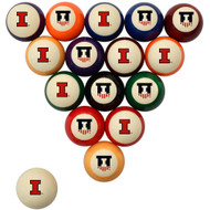 Illinois Fighting Illini Billiard Ball Set - Standard Colors