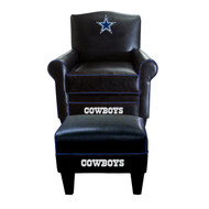 Cowboys Black Game Time Chair and Ottoman