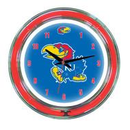 """Kansas Jayhawks Neon Wall Clock -14"""""""