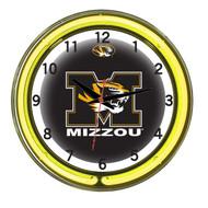 """Missouri Tigers Neon Wall Clock -18"""""""