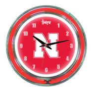 "Nebraska Neon Wall Clock - 14"""
