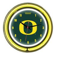 """Oregon Ducks Neon Wall Clock -14"""""""