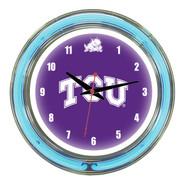 """TCU Horned Frogs Neon Wall Clock -14"""""""