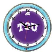 """TCU Horned Frogs Neon Wall Clock - 18"""""""