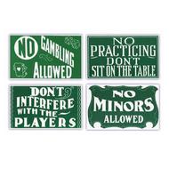 Pool Hall Advisory Signs (Set of Four)