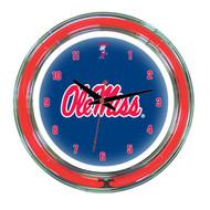 "Mississippi   Neon Wall Clock - 14"""