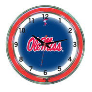 Mississippi   Neon Wall Clock - 18""