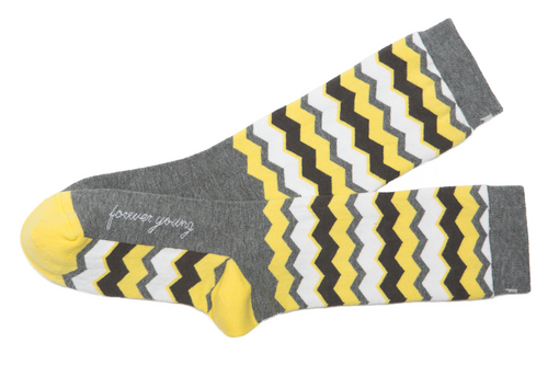 Forever Young inspirational socks by Posie Turner.
