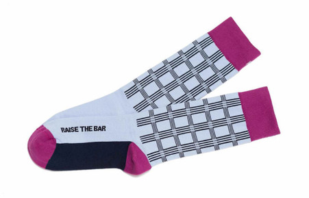 Raise the Bar mens inspirational gift socks for attorneys by Posie Turner.