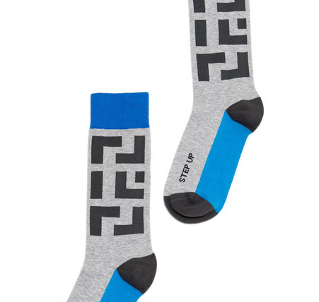 Step Up modern mens golf socks by Posie Turner.