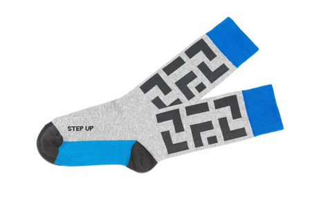 Step Up inspirational mens golf socks by Posie Turner.