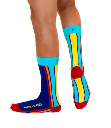 Inspire Yourself mens gay pride rainbow socks by Posie Turner