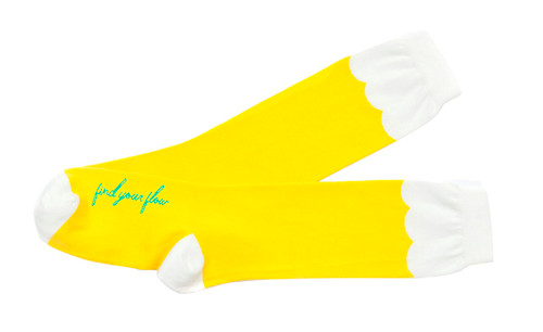 Find Your Flow yoga mantra knee high socks by Posie Turner