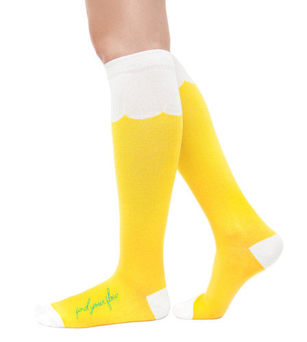 Find Your Flow 60s and yoga inspired yellow knee high socks by Posie Turner. Socks with inspiring messages.