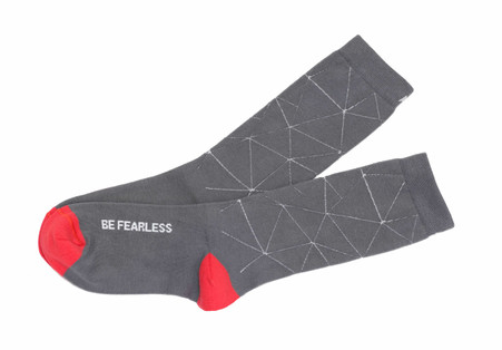 Be Fearless modern socks with good words by Posie Turner