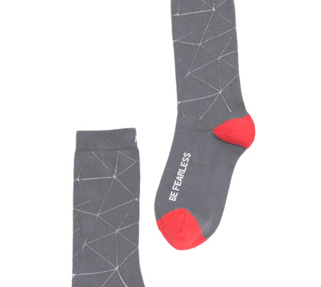 Be Fearless luxury graphic gray socks with inspirational words by Posie Turner