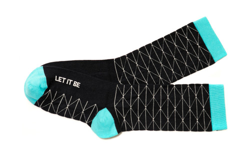 Let it be modern, navy socks by Posie Turner. Socks with inspiring words.
