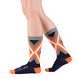 Navy and orange, modern, graphic socks by Posie Turner. All or Nothing. Socks with inspirational messages.