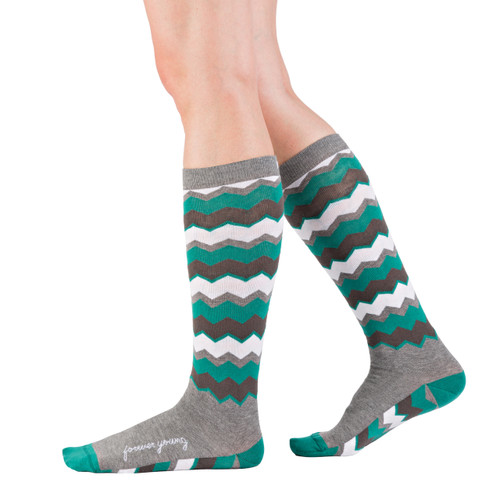 Green and gray chevron knee highs by Posie Turner. Socks with inspirational words. Forever Young.